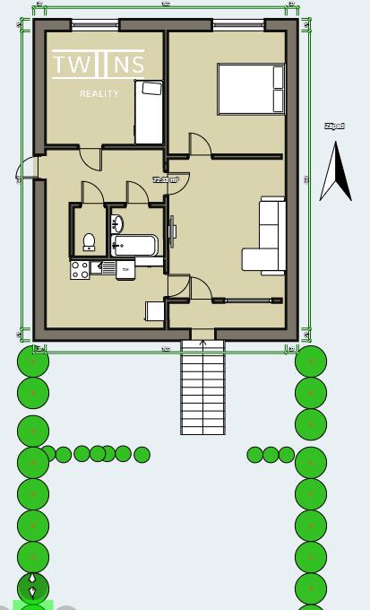 pôdorys Drobneho 3 izboveho bytu so záhradkou